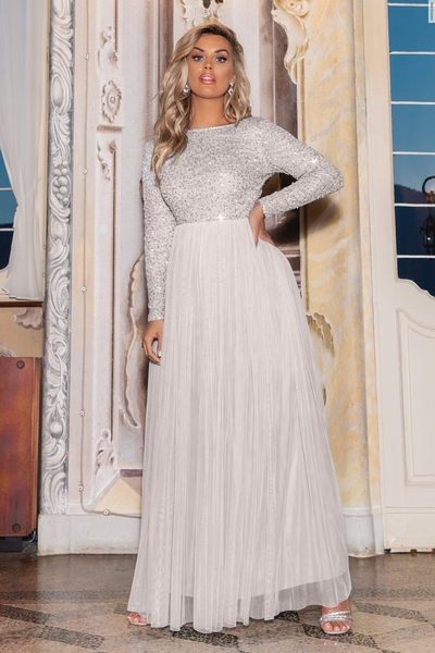 Grey Sequin Embellished Maxi Dress